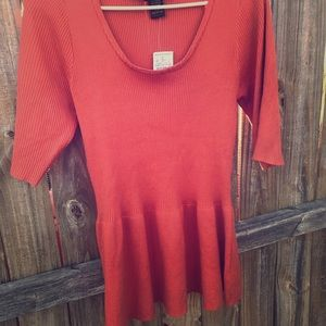 Burnt Orange Peplum Sweater